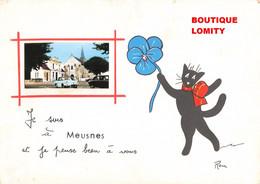 41 Meusnes Carte Fantaisie Illustration Chat René + Photo Eglise Mairie Vieille Voiture Auto Automobile - Andere Gemeenten