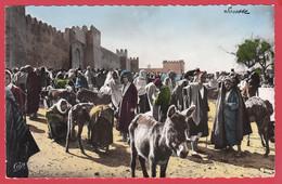 CPSM- SOUSSE -Le Marché Aux Bestiaux- Ann.50-Ed. V. Slama* Animation - Ânes * Scan Recto/Verso - Tunesië