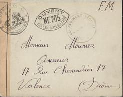 Guerre 39 45 FM 144e Régiment Régional Censure Bande + Cachet Commission NE + Cachet NE 205 = Gap Arrivée Valence 1939 - WW II
