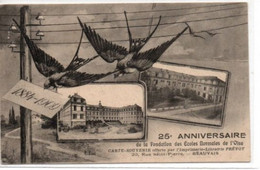 Beauvais- 250 Anniversaire De La Fondation Des Ecoles Normales De L'Oise-carte Souvenir Offerte Par L'Imprimerie Prévot - Beauvais