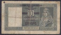 Yugoslavia Serbia 1941 Banknote Of 10 Din, Condition F - Serbia