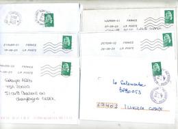 Lot 6 Lettres Flamme Chiffrée Sur Marianne  Issue De Carnet Avec Bout - Sellados Mecánicos (Publicitario)