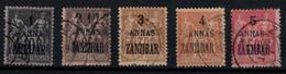 ZANZIBAR SAGE 1897 N° 2  5  6  8 Y&T - Usati
