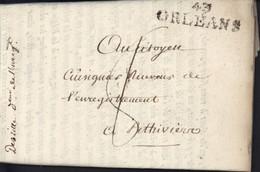 Loiret Marque Postale 43 Orléans 42X12 République Française Faisceaux Bonnet Phrygien An 7 Conscription Militaire - 1701-1800: Precursors XVIII