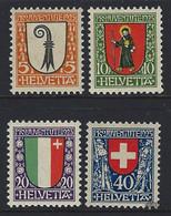1923 Suisse Yv 192/195 Pour La Jeunesse 23  *Ch TB Beau, Neuf Charnière  (Yvert&Tellier) - Oblitérés