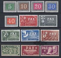 1945 Suisse Yv 405/417 Paix  *Ch TB Beau, Neuf Charnière  (Yvert&Tellier) - Oblitérés