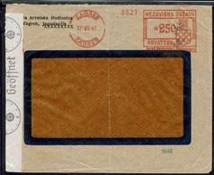 Yougoslavie - Oblitération EMA Sur Enveloppe De Zagreb 17-VII-41 Pour Sofia . Contrôle Allemand  Gepruft, Bande Géoffnet - Briefe U. Dokumente