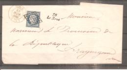 LETTRE FRANCE 23 NOVEMBRE 1851 N°4 OBLITERE GRILLE CACHET DATE VENCE ET CURSIVE 78 LE BROT - 1849-1876: Classic Period