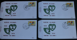 4 FDC Tintin / Kuifje - 50 Ans / 50 Jaar - 1979 - 4 Timbres N°1944 - 4 Cachets Différents - 1971-80