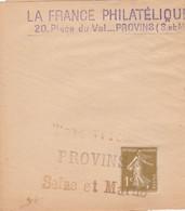 SEMEUSE 1C SUR BANDE DE JOURNAL LA FRANCE PHILATELIQUE PROVINS GRIFFE TAXE PERCUE - Cartas Con Impuestos