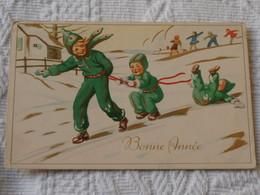 CPA  1951 : Bonne Année 1952 Avec Des Enfants Glissant Sur La Neige - New Year