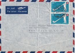 SUISSE 1951 PLI AERIEN DE GENEVE POUR NEW YORK - Storia Postale