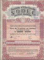 SOCIETE D'ELECTRICITE SODEC - LUXEMBOURG -  TITRE DE 5 ACTIONS  -ANNEE 1952 - Elettricità & Gas
