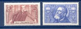 France N°318 à 319 - Jean Jaurès - Neuf** - Cote 49€ - (F565) - Neufs