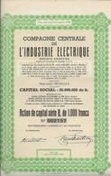 COMPAGNIE CENTRALE DE L'INDUSTRIE ELECTRIQUE -BELGIQUE - ACTION SERIE B DE 1000 FRS -ANNEE 1944 - Elettricità & Gas