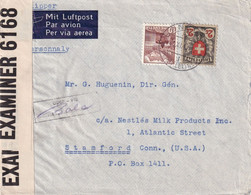 SUISSE 1940 PLI AERIEN CENSURE POUR STAMFORD - Storia Postale