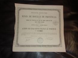 MINES DE HOUILLE DE PROVENCAL Et Mines De Pyrites De Saint Jean Du Pin Près ALAIS (gard) 1876 - Unclassified