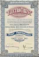 ELECTROTRUST  BELGIQUE -PART PRIVILEGIEE -ANNEE 1944 - Elettricità & Gas