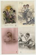 Lot De 6 Cartes Fantaisie Enfants Et Fleurs - Charrette... - Portraits