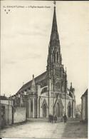 GRACAY ( Cher ) , L' Eglise Façade Ouest , CPA ANIMEE - Graçay