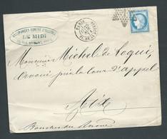 Oblit. étoile 1 , Pl. De La Bourse Paris 25/nov 1873 Sur Lsc Affr. Par N° 60   AX 14702 - 1871-1875 Ceres