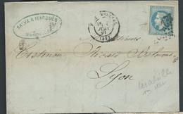 """LaC Affr. / Yvert N° 29   Obl. Gros Chiffres 2502 ( Montpellier ) Sur N° 29 , Variété """" Les Abeillrs 1ere état AX 14707 - 1863-1870 Napoléon III Lauré"""