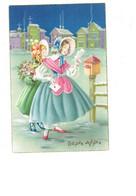 Cpa - Illustrateur M.n.g. Bonne Année - Jeune Fille élégante Robe Chapeau Courrier Boite Aux Lettres - Edit Univers 491 - New Year