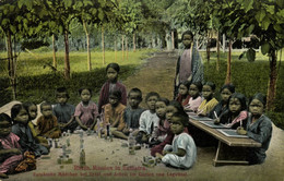 Indonesia, SUMATRA LAGUBOTI, Batak Girls Playing And Learning (1910s) Postcard - Indonésie