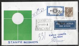 PRIMO VOLO ALITALIA AZ166 CON CARAVELLE - MILANO/PALERMO - 13.05.1963 - STAMPE RACCOMANDATA - Poste Aérienne
