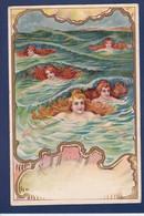 CPA Sirène Mermaid Art Nouveau Femme Woman  Voir Dos - 1900-1949