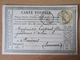 France - Timbre Cérès 15c Sur Précurseur Vers Amiens - Oblitéré CàD Vimoutiers 1876 - 1849-1876: Klassik