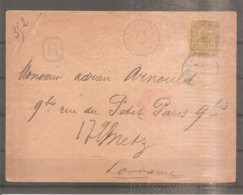 LETTRE RECOMMANDE SOUDAN FRANCE COLONIE 1894 N°14 OBLITERE KAYES - Covers & Documents