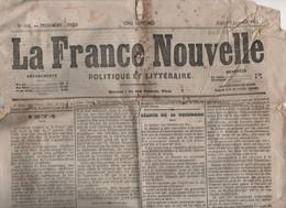 LA FRANCE NOUVELLE 01 01 1874 - ASSEMBLEE NATIONALE IMPOTS ENREGISTREMENT - VINCENNES CATASTROPHE DU BEL-AIR - COMMUNARD - 1850 - 1899