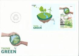 Denmark FDC 31-3-2016 Think Green Souvenir Sheet With Cachet - FDC