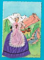 Carte Brodée Fantaisie Folklore Dauphiné Illustrateur Coudurier Création Francépoque - Embroidered