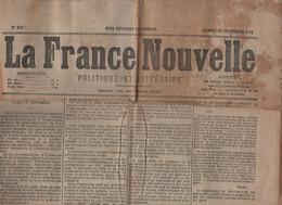 LA FRANCE NOUVELLE 26 09 1874 - ELECTIONS - COPENHAGUE - EVEQUE DE MANTOUE - LE HAVRE - SAUVETEURS - OR GUYANE - AMPUIS - 1850 - 1899