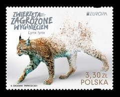 Poland 2021 Mih. 5291 Europa. Fauna. National Endangered Wildlife. Eurasian Linx MNH ** - Nuevos