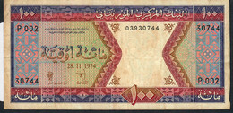 MAURITANIA P4a 100 OUGUIYA 28.11.1974      F-VF   NO P.h. - Mauritania