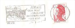 CACHET OBLITERATION FLAMME MEZE PORT PLAGE COQUILLAGE VINS  ENVELOPPE 16X11 - 1961-....