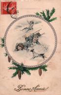 CPA - Fantaisie BONNE ANNEE - Illustration Enfants Jouant à La Luge ... - New Year