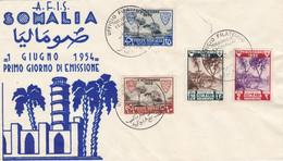 1954 Somalia, Busta 1° Giorno Con Interessanti Francobolli. - Sin Clasificación