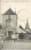 En Berry , LES AIX D'ANGILLON , Le Donjon , L' Eglise , 1915 , CPA ANIMEE + Cachet Militaire - Les Aix-d'Angillon