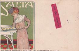 """PUBLICITE """"SALTA""""- Mme SARAH BERNHARDT MEDITANT Une COMBINAISON De SALTA.            (21/4/21) - Advertising"""