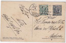 """1930 Cartolina Di Assab Con Cent 5 + 15 Sovrastampati """"Colonia Eritrea, Annullo """"Assab Eritrea. - Eritrea"""