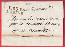MARQUE P33P LODEVE HERAULT 1824 INDICE 11 POUR CLERMONT DE L'HERAULT TEXTE LE MAIRE DE LODEVE - 1801-1848: Précurseurs XIX