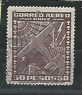 1953.- CHILE. CORREO AÉREO .-50 PESOS . USADO. COLOR MARRÓN OSCURO - Chile