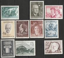 Autriche N° 915, 916, 917, 918, 919, 920, 921, 922, 923, 924 ** Année 1960 Complète, à Moins De 25% De La Cote - 1945-60 Unused Stamps