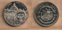 LIBERIA  10 Dollars (Pope John Paul II) 2005 Nickel  • 14.6 G • ⌀ 33 Mm - Liberia