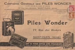 """Enveloppe Illustrée Recto-verso  De La Compagnie Générales Des Piles WONDER. Pour Thématique """"lumière"""" Ou """" Automobiles"""" - 1921-1960: Modern Period"""