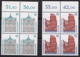 BRD, 1990, Nr. 1468-1469 ** Sehenswürdigkeiten (VIII), 2 Viererblöcke Mit Oberrand - Neufs